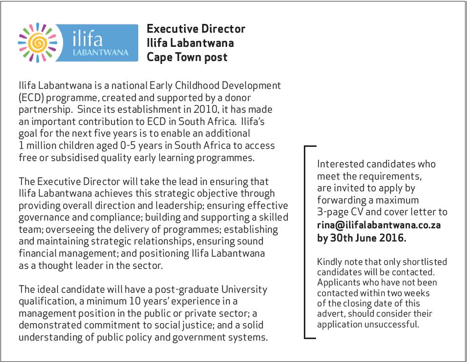 Job Ad for Ilifa Executive Director