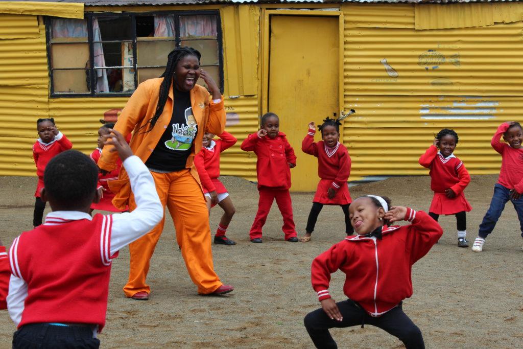 Malifu Moloi with the children at Khayalethu Edu Care.